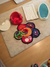 Bumbo, baby bath, changing mat and play mat.