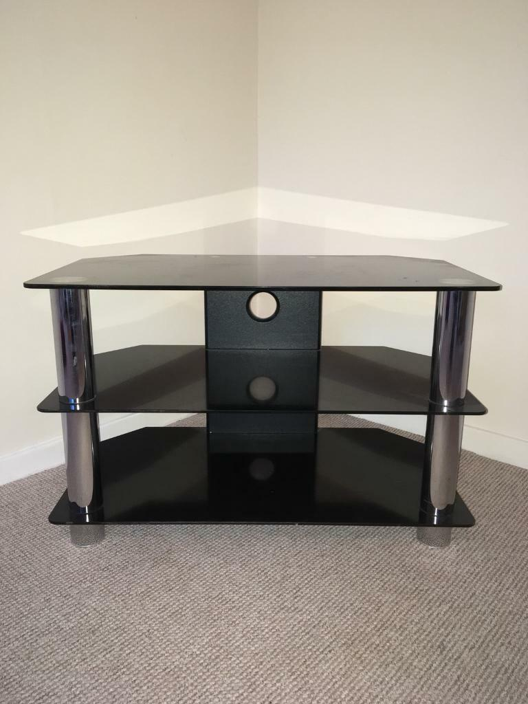 Black Glass Tv Stand In Plymouth Devon Gumtree # Table Tv En Coin