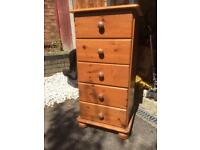 Pine tallboy/chest of drawers