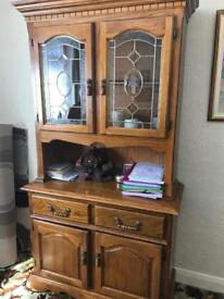 Welsh dresser with glass display cupboard at the top