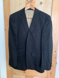 Saville Row, black pure wool pinstripe men's suit jacket