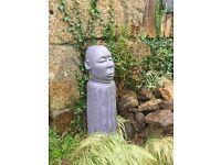 Garden Statue Head on column in Grey concrete cast