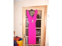 Hot Pink Crepe Midi Dress