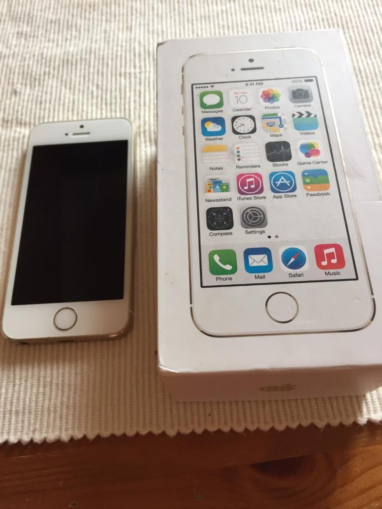 IPhone 5s white and goldin Halfway, South YorkshireGumtree - iPhone 5s white and gold with box comes with the plug but no wire. 16G on Vodafone in good condition apart from a few little marks but nothing major, its been well looked after. The screen is perfect not a mark the back too also. Its just the top and...