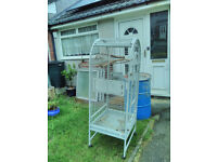 Large Pale Grey Birdcage. Good condition. Lots of perches