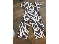 Black +White Print Culotte-Style Summer Playsuit with Bandeau Top - Size 8 - Brand New!