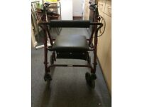 Wheeled mobility walker with seat