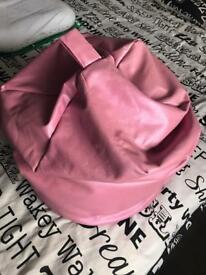 Pink Leather beanbag