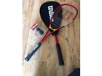 Wilson squash rackets and balls