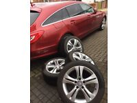 Four immaculate Mercedes-Benz Alloy Wheels with Dunlop SP Winter Sport Tyres (245/45 R17)