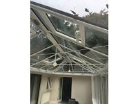 Large Conservatory, dark oak, electric roof openers, excellent condition