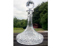 Cut Glass Ship's Decanter - Unused so no internal staining. No chips or damage. Make a great gift.
