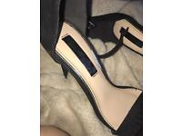 Miss selfridge black strap heels