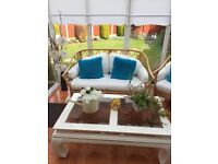 Wicker conservatory sofa & 2 chairs