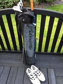 Half Set Slazenger & John Letters Golf Clubs and Adidas Shoes UK 7