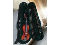 1/4 size violin with case and chin rest