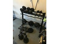 Weight set, weight stand and bench