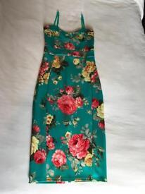 Green Floral Body Con Dress