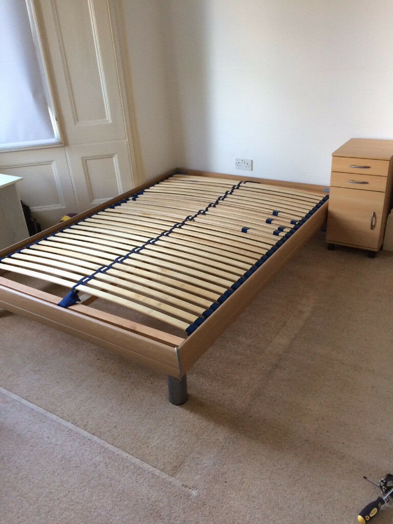 DOUBLE BED w/ high quality slatted frame and matress from Germany + ...