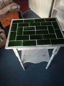 Upcycled Side Table With Tiled Top