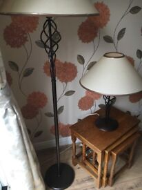 Bronze twisted metal floor lamp with matching table lamp