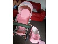 Dolls, pram, dolls house, swing chair, dolls clothes and lots more