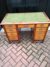 Antique Writing desks with drawers and green top