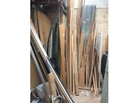 New and old wood, loads or architrave rail, skirting board, various wood, etc