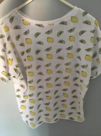 White lemon print t-shirt