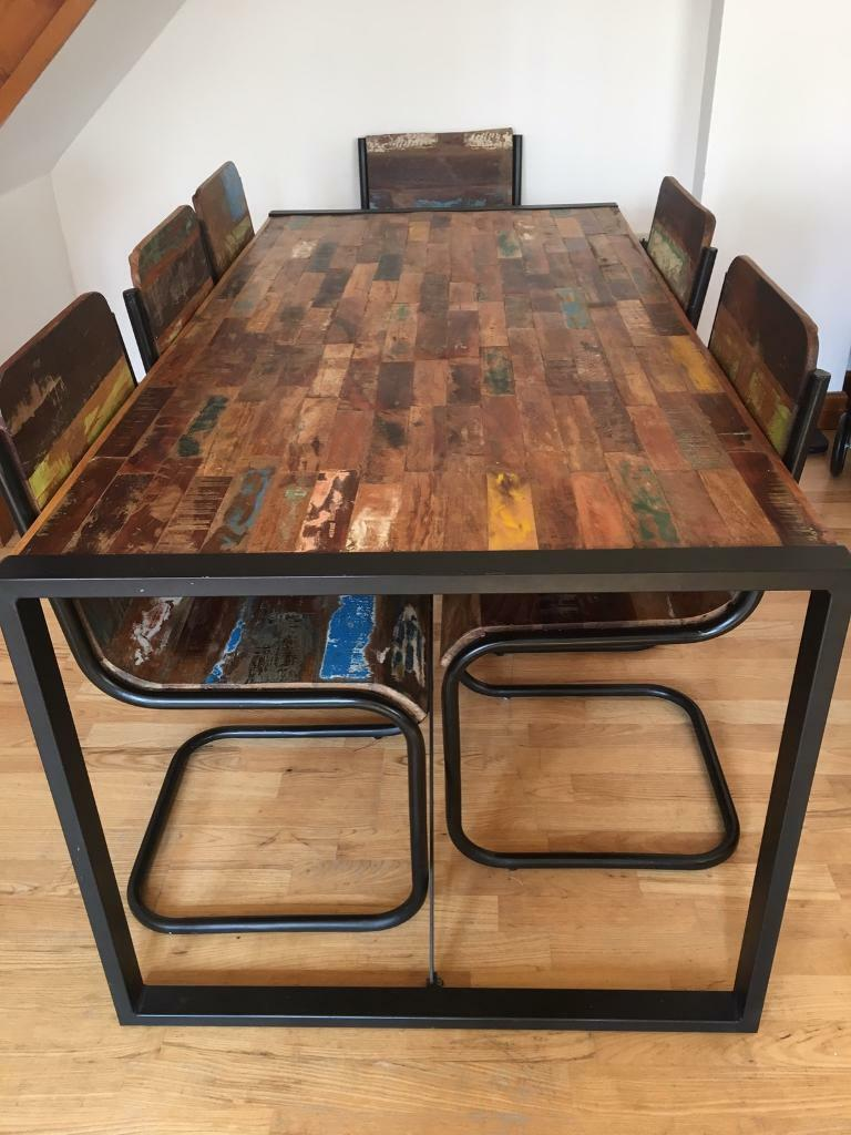 Metal frames wooden DFS Dining Table, Chairs and Sideboard | in ...