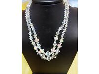NEW CRYSTAL HAND CARVED DOUBLE STRAND NECKLACE WITH SILVER CLASP