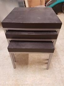 Table Nest with 3 tables Black/Brown and Silver Legs