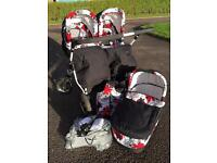 As new - Freestyle black, white, grey and red double pram twin buggy