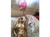 L.gregoire french bronze statue classical lamp circa 1890 (genuine antique)