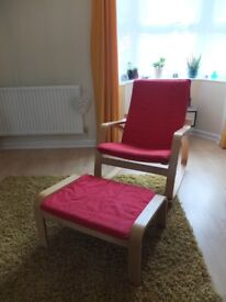 Ikea Poang Rocking Chair 2 covers (red &black) and Footstool