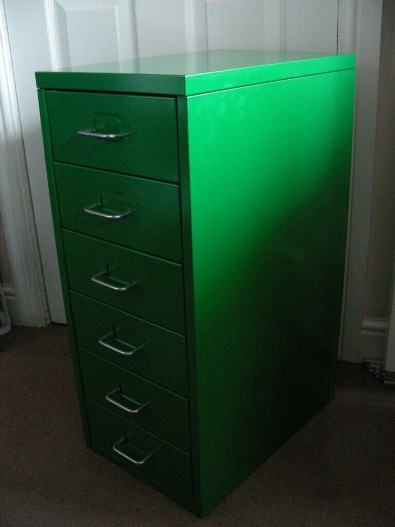 Ikea Helmer Green Metal 6 Drawer Chest Of Drawers Office