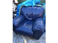 3 seater leather sofa and matching recliner.