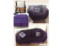 Large 2 seater, armchair and storage pouffe