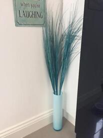 Tall Turquoise Vase with Grass Reeds