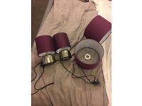 2 x purple touch lamps and 2 x purple lampshades