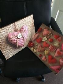 Heart shape canvases from next