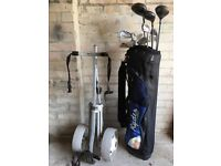 Full set of Ryder Golf clubs and Titleist trolley