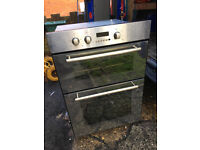 Reconditioned Hotpoint built in double oven. Semi-mirror finish doors. 3 month money back guarantee