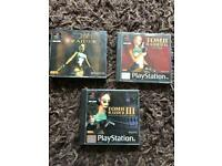 PlayStation 1 boxed tomb raider games. Ps1