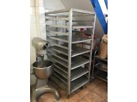 Very large catering rack on wheels for sale. Great item no longer needed due to bakery move.