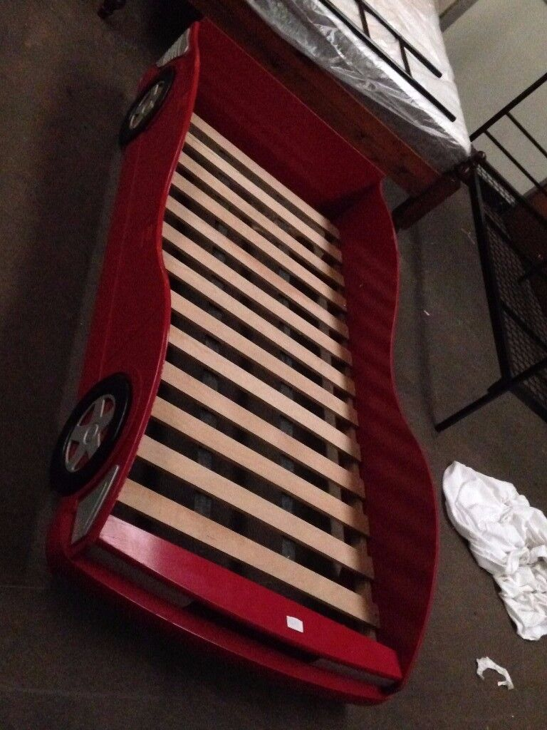 Red Race Car Single Bed