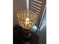 Antique brass table lamp with faux glass shade
