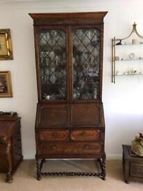 Oak Bookcase/ display cupboard/ bureau