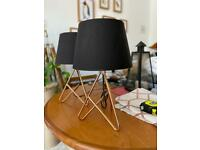 """John Lewis """"Albus twisted lampshades"""" I copper and black x2"""