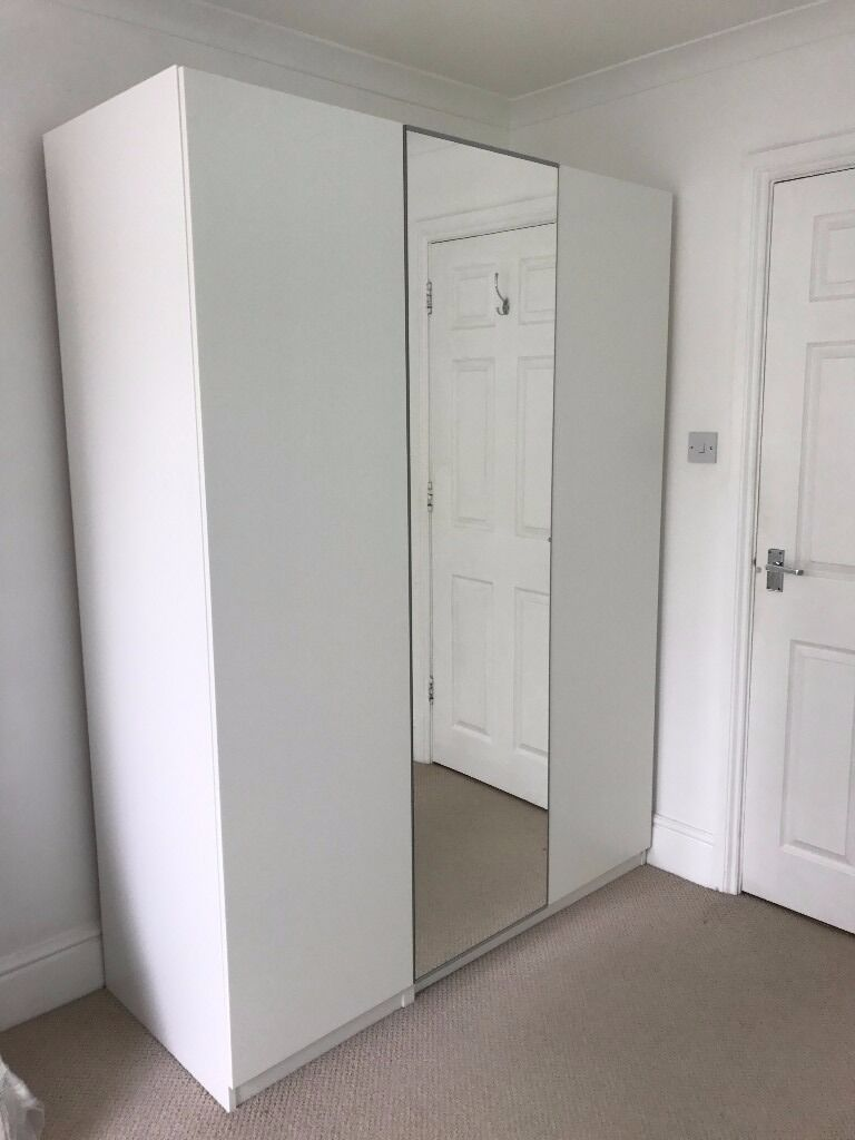 White Ikea Pax Wardrobe With Three Doors One Mirror Door